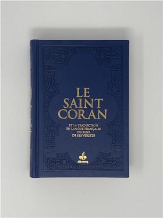 Saint coran (14 x 19 cm) avec pages arc en ciel (rainbow) bilingue (fr/ar) couverture daim bleu nuit