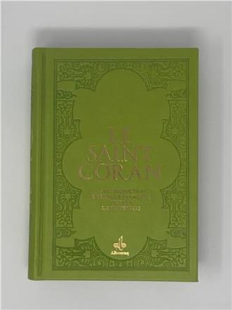 Saint coran (14 x 19 cm) avec pages arc en ciel (rainbow) bilingue (fr/ar) couverture daim vert clair
