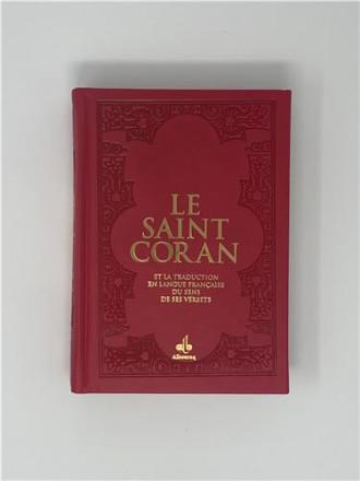 Saint coran (14 x 19 cm) avec pages arc en ciel (rainbow) bilingue (fr/ar) couverture daim rouge