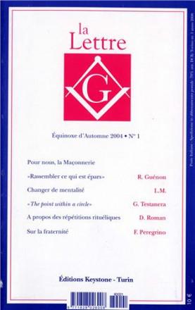 La lettre G équinoxe d'automne 2004 n° 1