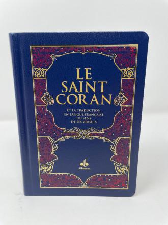 Saint Coran Bilingue - Poche - Couverture Tissu bleu